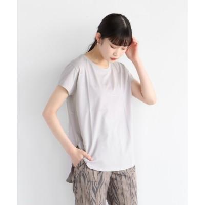 (LASUD/ラシュッド)[LASUD] 【手洗い可】サイドスリット ラウンドヘムロゴTシャツ/レディース グレージュ