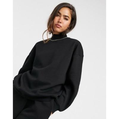 ストラディバリウス レディース シャツ トップス Stradivarius oversized sweatshirt in black