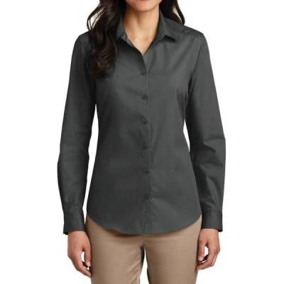 レディース 衣類 トップス Mafoose Women's Long Sleeve Carefree Poplin Uniforms Dress Shirt Graphite X-Small ブラウス&シャツ