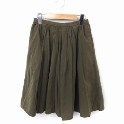 【中古】アーバンリサーチ URBAN RESEARCH スカート ギャザー ひざ丈 無地 シンプル F カーキ /FT35 レディース