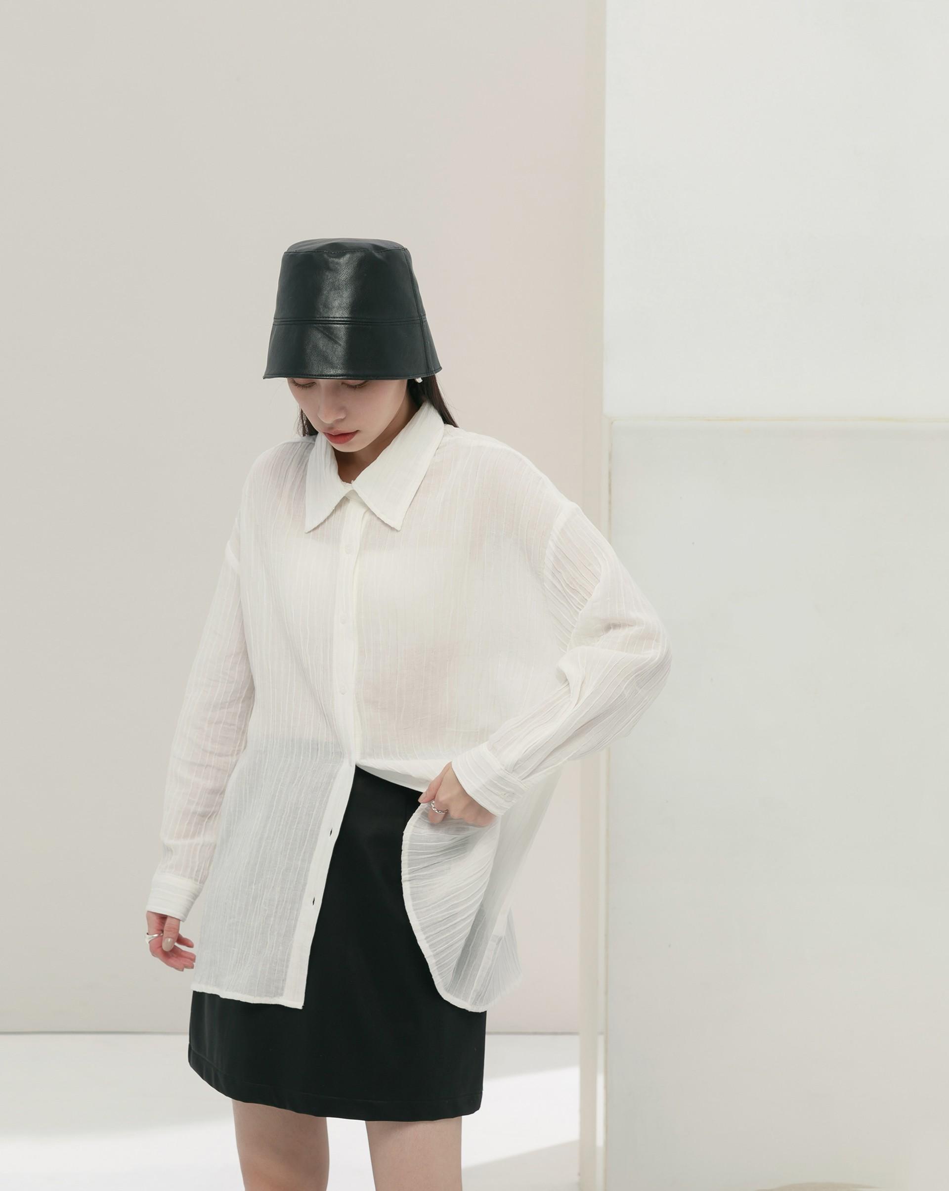 設計感皺褶大領襯衫-Meierq