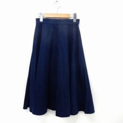 【中古】エージーバイアクアガール AG by aquagirl スカート ロング フレア ウエストゴム シンプル S ネイビー 紺