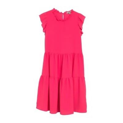グッドラックジェム レディース ワンピース トップス Ruffle Neck Tiered Floral Dress BRIGHT PINK