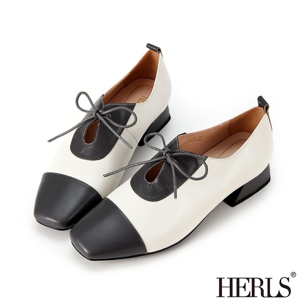 HERLS牛津鞋 全真皮配色拼接鏤空綁帶牛津鞋 深灰X米