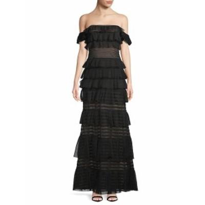 BCBG マックスアズリア レディース ワンピース Mesh Stripe Evening Gown
