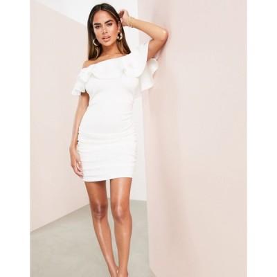 エイソス ミニドレス レディース ASOS LUXE bardot ruffle off shoulder mini dress with ruched detail in white エイソス ASOS sale ホワイト 白