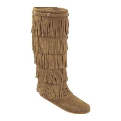 ミネトンカ スニーカー シューズ レディース 5 Layer Fringe Boot (Women's) Taupe Suede