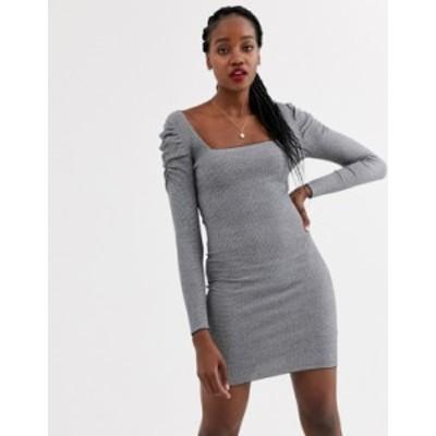 エイソス レディース ワンピース トップス ASOS DESIGN square neck mini dress with volume sleeve Mono