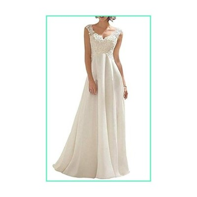 VeraQueen Women's A Line Lace Wedding Dress Long V Neck Formal Evening Dress Ivory並行輸入品