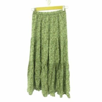 【中古】コルザ COLZA ロングスカート フレア 花柄 くすみグリーン 緑 ベージュ S *E807 レディース