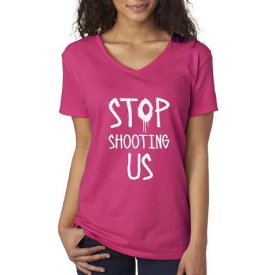 レディース 衣類 トップス Trendy USA 1086 - Women's V-Neck T-Shirt Stop shooting us XS Heliconia Tシャツ