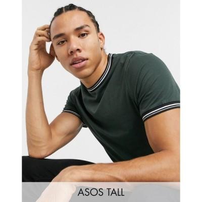 エイソス メンズ Tシャツ トップス ASOS DESIGN Tall organic T-shirt with tipping in dark green Deep forest