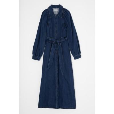 PUFF SLEEVE DENIM LONG ドレス