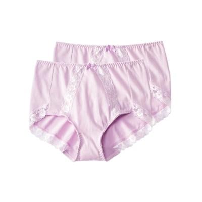 綿混ストレッチレーシーショーツ2枚組(6L) スタンダードショーツ, Panties