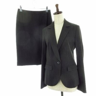 【中古】ミッシェルクラン スーツ セットアップ ジャケット テーラード スカート ひざ丈 ストライプ 38 グレー