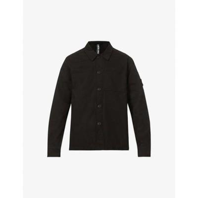 レイバーン RAEBURN メンズ シャツ シャツジャケット トップス Logo-embroidered patch-pocket organic-cotton overshirt BLACK