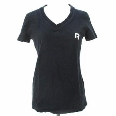 【中古】リーボック Reebok 半袖 カットソー Tシャツ L ブラック 黒系 Vネック 刺繍 リブ 綿 コットン  レディース
