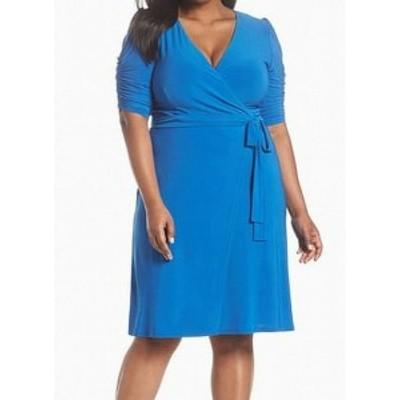 Eliza J エリザジェイ ファッション ドレス Eliza J NEW Blue Womens Size 24W Plus Wrap Belted Sheath Dress