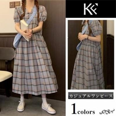 ワンピース レディース 40代 きれいめ 50代 30代 上品 ドレス ゆったり パフスリーブ ロング チェック
