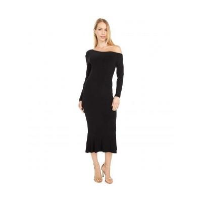 KAMALIKULTURE by Norma Kamali カマリカルチャー レディース 女性用 ファッション ドレス Long Sleeve Drop Shoulder Fishtail Dress To Midcalf - Black
