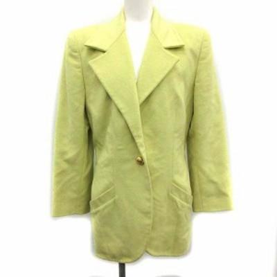 【中古】サルヴァトーレフェラガモ テーラードジャケット ヴィンテージ シングル 1B アンゴラ混 42 L 黄色 イエロー