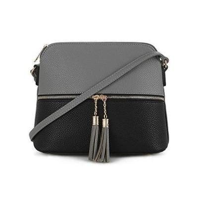 SG SUGU Lunar Lightweight Medium Dome Crossbody Bag Shoulder Bag with Double Tassels   Zipper Pocket   Adjustable Strap【並行輸入品】
