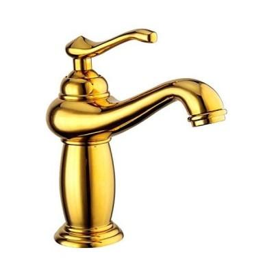 SK46 洗面用 アンティーク 混合水栓 蛇口 シングルレバー ランプ型 ヨーロッパ風 手洗いボウル用 洗面台 取り付けホース付き (ゴールド・混合栓