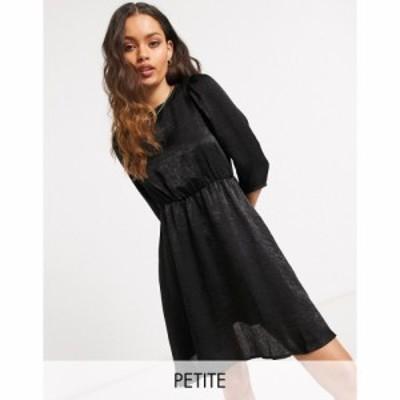 ヴェロモーダ Vero Moda Petite レディース ワンピース スケータードレス ワンピース・ドレス satin skater dress in black ブラック