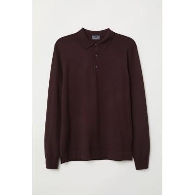 H&M - メリノウール 長袖セーター - レッド