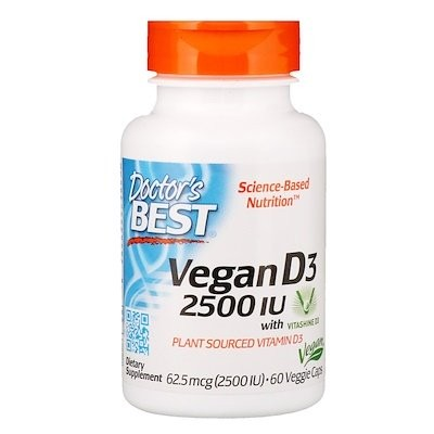 ビタシャインD3配合ビーガンD3、2,500 IU、植物性カプセル60個
