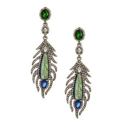 アイキャンデー レディース ピアス&イヤリング アクセサリー Peacock Feather Rhinestone Dangle Earrings SILVER