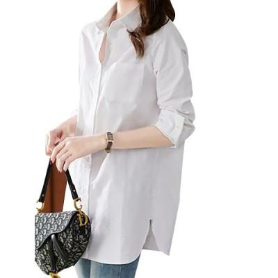 ホワイトシャツ ポケット付き レディーストップス ラウンド裾 サイドスリット 長袖 きれいめ 通勤 おしゃれ