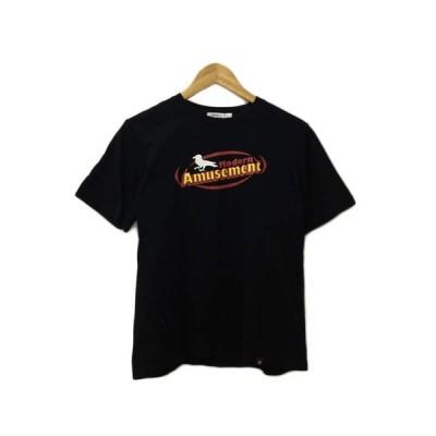 【中古】モダンアミューズメント Modern Amusement Tシャツ クルーネック プリント 半袖 M 黒 赤 ブラック レッド メンズ 【ベクトル 古着】