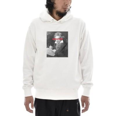 【アートパーカー】ベートーヴェン ベートーベン パーカー 肖像画 モノクロ ライフ イズ アート メンズ レディース 大きいサイズ ホワイト 白 ブランド