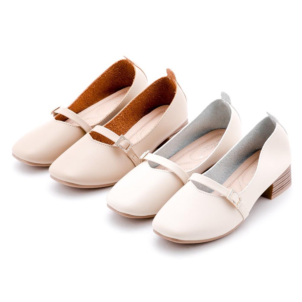 River&Moon跟鞋 韓系超軟皮方頭瑪莉珍粗跟鞋