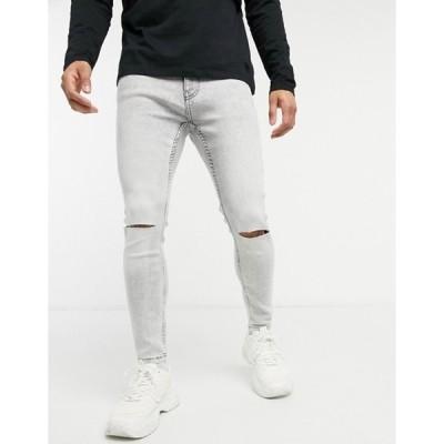 ベルシュカ メンズ デニムパンツ ボトムス Bershka super skinny jeans with knee rips in light gray