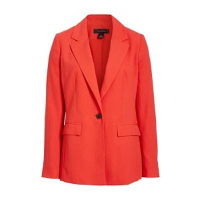 ハロゲン レディース ジャケット&ブルゾン アウター One-Button Blazer RED POINSETTIA
