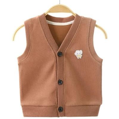 XINYIJ ベビーベスト 子供服 ベスト 女の子 赤ちゃん ニットベスト 前開き 男の子 袖なし ジャケット 可愛い 薄手 無地 春 秋 80-13