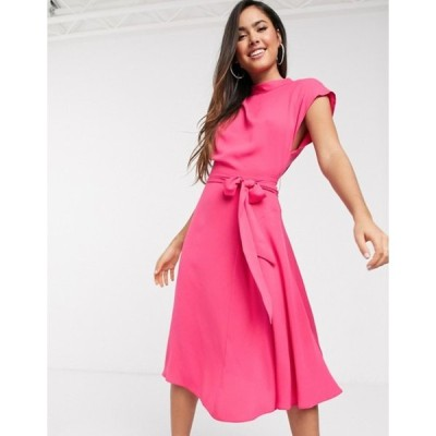 エイソス レディース ワンピース トップス ASOS DESIGN high neck grown on sleeve skater midi dress in magenta