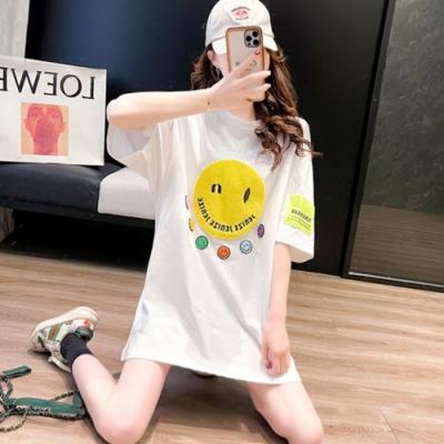 La Belleza笑臉絨毛立體大小彩色貼布棉質T恤