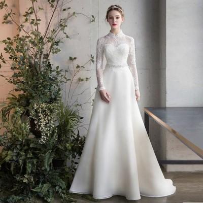 ウェティグドレス 結婚式 安い 大きいサイズ  ウェティグドレス  Aラインドレス 二次会 海外挙式 花嫁 ドレス パーティードレス 袖あり 長袖 送料無料