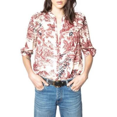 ザディグ エ ヴォルテール シャツ トップス レディース Tygg Juoy Satin Button-Up Shirt Toile