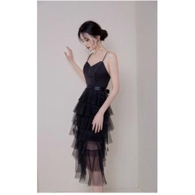 ドレス イブニングドレス 安い 可愛い sexy セクシー ワンピース キャバ キャミ Vネック フリル ミモレ丈