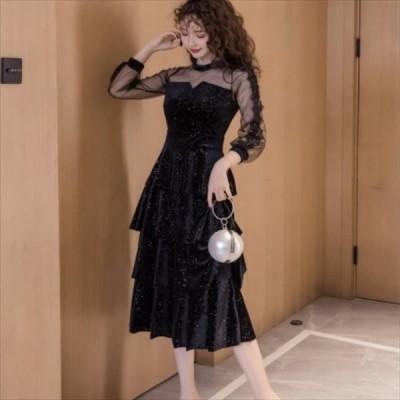 エレガント系 ひざ丈ワンピースドレス 透け感 ラウンドネック レース Aライン・フレア 大人可愛い パーティ・お呼ばれ