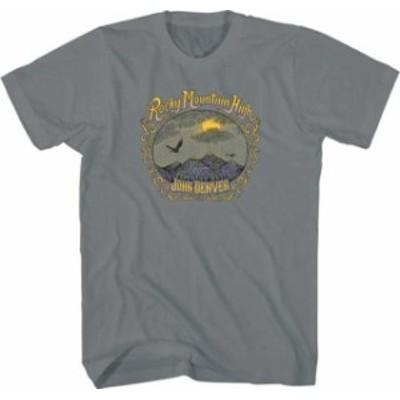 ファッション トップス John Denver-Rocky Mountain High-Large Charcoal Gray T-shirt