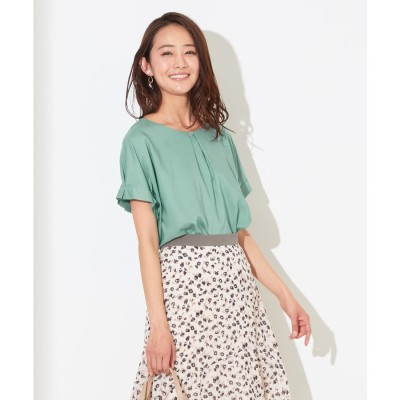 any SiS 【洗える】バーポイントシャツ ブラウス (ディープミント)