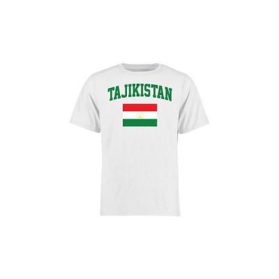 海外バイヤーおすすめ Tシャツ トップス ウエア Tajikistan ユース ホワイト フラッグ Tシャツ