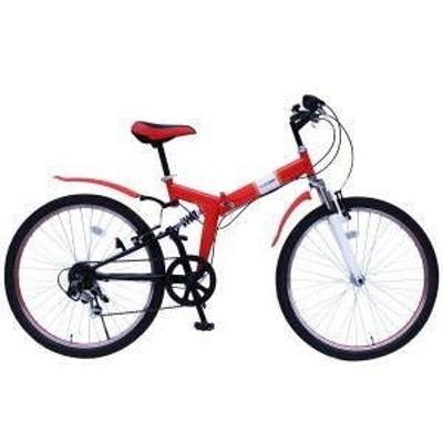 ★フィールドチャンプ26インチ折畳MTBルック自転車6段ギア(レッド) 1台 送料無料 6段のギア変速でお好みの速度をお楽しみください