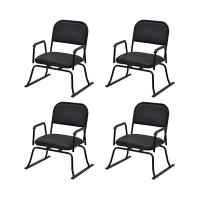 エイ・アイ・エス (AIS) 座椅子 ブラック 56×50×64cm 楽座椅子 回転式 4脚入 (ブラック 56×50×64cm)
