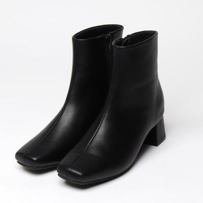 安定感のある履き心地【EVOL】 ILIMAスクエアショートブーツ IN9080 (ブラック)